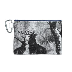 Stag Deer Forest Winter Christmas Canvas Cosmetic Bag (m)