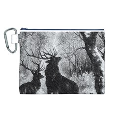 Stag Deer Forest Winter Christmas Canvas Cosmetic Bag (l)