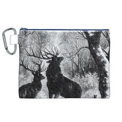 Stag Deer Forest Winter Christmas Canvas Cosmetic Bag (xl)