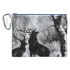 Stag Deer Forest Winter Christmas Canvas Cosmetic Bag (xxl)