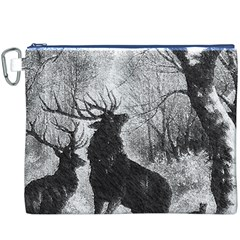 Stag Deer Forest Winter Christmas Canvas Cosmetic Bag (xxxl)