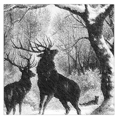 Stag Deer Forest Winter Christmas Large Satin Scarf (square)