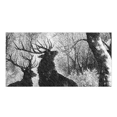 Stag Deer Forest Winter Christmas Satin Shawl