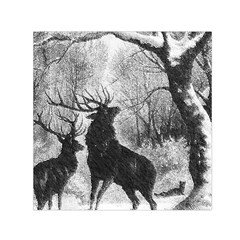 Stag Deer Forest Winter Christmas Small Satin Scarf (square)