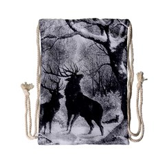 Stag Deer Forest Winter Christmas Drawstring Bag (small)