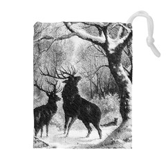 Stag Deer Forest Winter Christmas Drawstring Pouches (Extra Large)