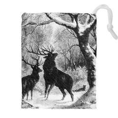 Stag Deer Forest Winter Christmas Drawstring Pouches (xxl)