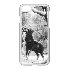 Stag Deer Forest Winter Christmas Apple Iphone 7 Seamless Case (white)