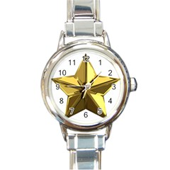 Stars Gold Color Transparency Round Italian Charm Watch