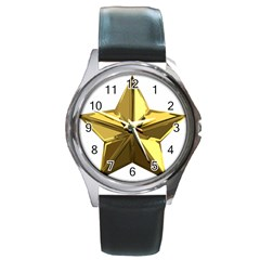 Stars Gold Color Transparency Round Metal Watch