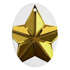 Stars Gold Color Transparency Ornament (oval)