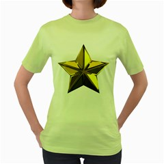 Stars Gold Color Transparency Women s Green T Shirt