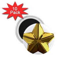 Stars Gold Color Transparency 1 75  Magnets (10 Pack)