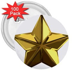 Stars Gold Color Transparency 3  Buttons (100 Pack)