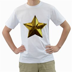 Stars Gold Color Transparency Men s T-Shirt (White) (Two Sided)