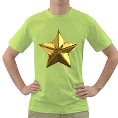 Stars Gold Color Transparency Green T Shirt