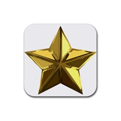 Stars Gold Color Transparency Rubber Square Coaster (4 Pack)