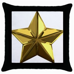 Stars Gold Color Transparency Throw Pillow Case (Black)