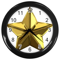 Stars Gold Color Transparency Wall Clocks (Black)