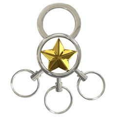 Stars Gold Color Transparency 3 Ring Key Chains