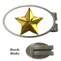 Stars Gold Color Transparency Money Clips (Oval)