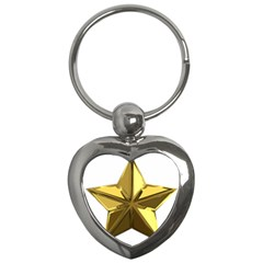 Stars Gold Color Transparency Key Chains (heart)