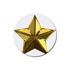 Stars Gold Color Transparency Rubber Round Coaster (4 Pack)