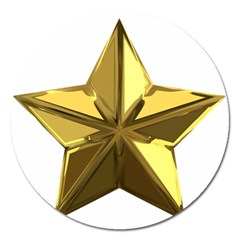 Stars Gold Color Transparency Magnet 5  (Round)