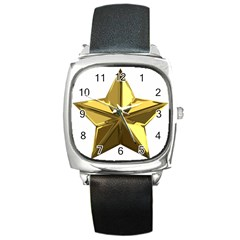 Stars Gold Color Transparency Square Metal Watch