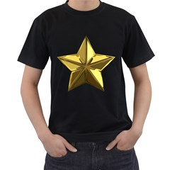 Stars Gold Color Transparency Men s T-Shirt (Black) (Two Sided)