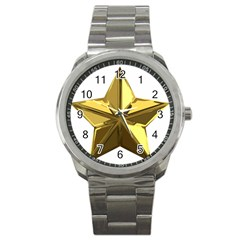 Stars Gold Color Transparency Sport Metal Watch