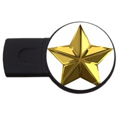 Stars Gold Color Transparency Usb Flash Drive Round (4 Gb)