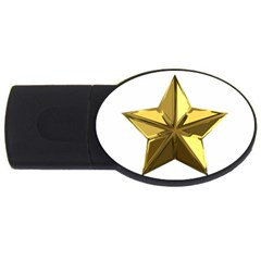 Stars Gold Color Transparency USB Flash Drive Oval (4 GB)