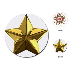 Stars Gold Color Transparency Playing Cards (round)
