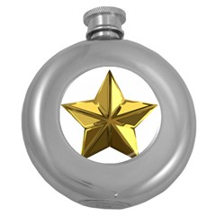 Stars Gold Color Transparency Round Hip Flask (5 oz)