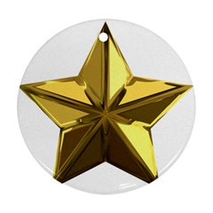 Stars Gold Color Transparency Round Ornament (two Sides)