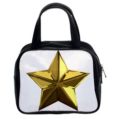 Stars Gold Color Transparency Classic Handbags (2 Sides)