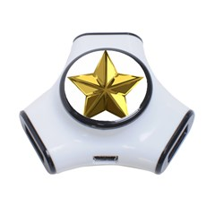 Stars Gold Color Transparency 3 Port Usb Hub