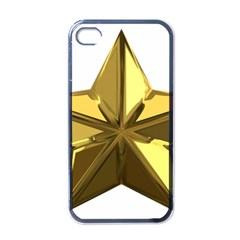 Stars Gold Color Transparency Apple Iphone 4 Case (black)