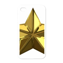 Stars Gold Color Transparency Apple iPhone 4 Case (White)