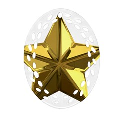 Stars Gold Color Transparency Oval Filigree Ornament (Two Sides)
