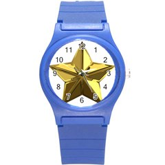 Stars Gold Color Transparency Round Plastic Sport Watch (S)