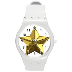 Stars Gold Color Transparency Round Plastic Sport Watch (m)