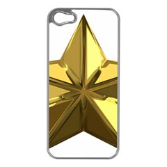 Stars Gold Color Transparency Apple Iphone 5 Case (silver)