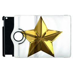 Stars Gold Color Transparency Apple Ipad 3/4 Flip 360 Case
