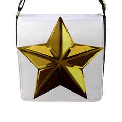 Stars Gold Color Transparency Flap Messenger Bag (L)