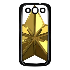 Stars Gold Color Transparency Samsung Galaxy S3 Back Case (Black)