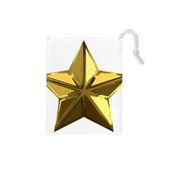 Stars Gold Color Transparency Drawstring Pouches (small)
