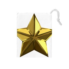 Stars Gold Color Transparency Drawstring Pouches (Medium)