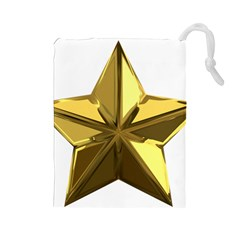 Stars Gold Color Transparency Drawstring Pouches (Large)
